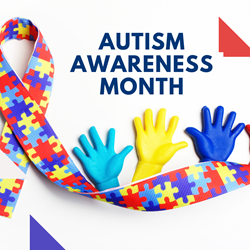 Autism awareness, ribbon with blue, red and yellow puzzle pieces and hands