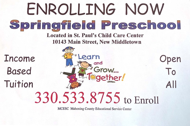 Preschool Enrollment St. Paul's Child Care Center call 330-533-8755