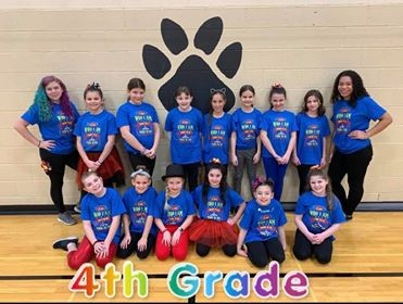 "Fourth grade students in the ""This Is Me"" Elementary Dance Clinic 2020 . Fourth grade is spelled out in rainbow colors."
