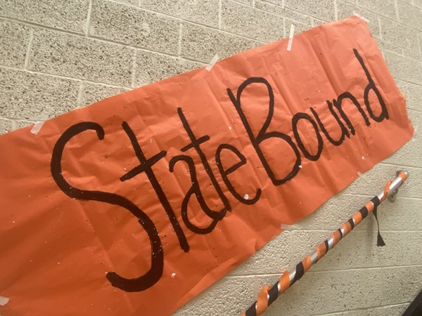 "Sign hanging inside Springfield Local High School that reads ""State Bound."""
